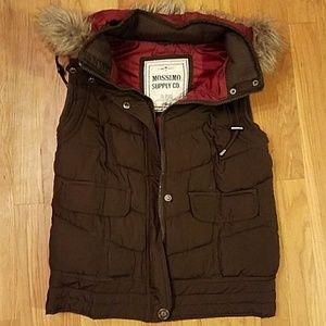 Chocolate brown puffer vest- detachable hood